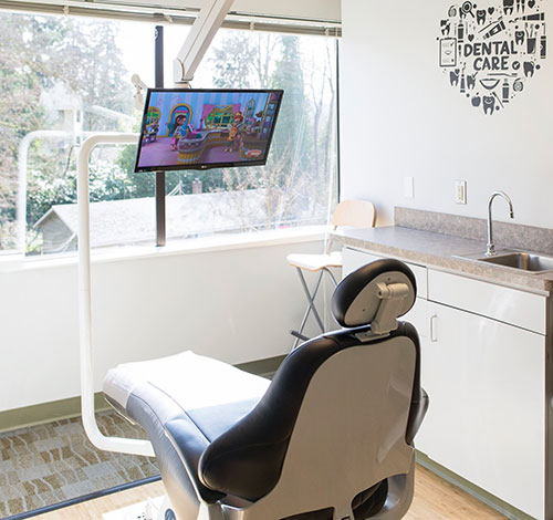 Dental chair, operatory in out Bellevue dental office